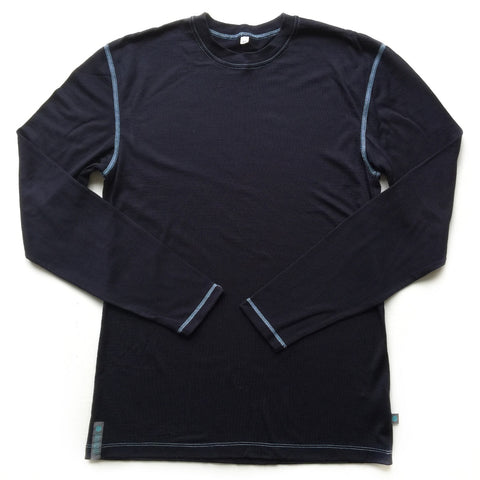 Midnight Blue Merino Wool Mens Top