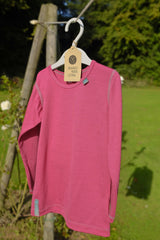 Lipstick Pink Merino Wool Long Sleeved Top
