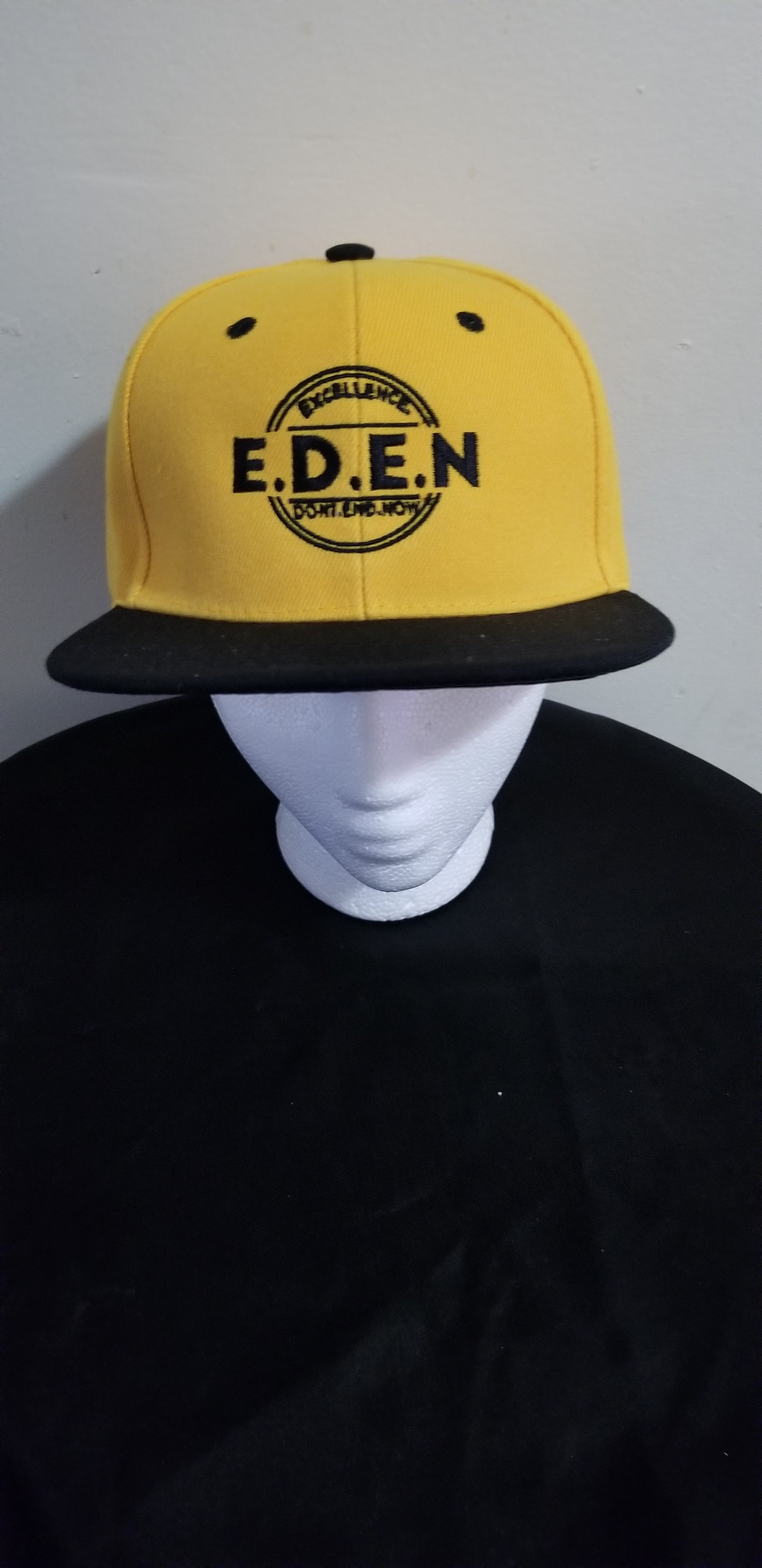 Snapback Hats - Black/Yellow  (Eden Logo)