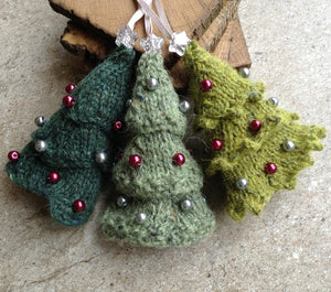Wee Three Trees - knitting kit to make 3 Christmas decorations