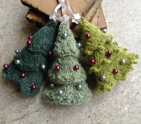 Wee Three Trees - knitting pattern to make 3 Christmas decorations