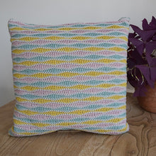 Load image into Gallery viewer, Wave stitch cushion cover crochet kit pale grey