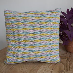 Wave stitch cushion cover crochet kit pale grey
