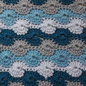 Knit One Kits Crochet cushion cover kit - colourway Teals