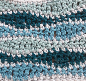 Wave stitch cushion cover crochet kit Teals