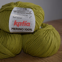 Load image into Gallery viewer, Katia merino 100% double knit yarn chartreuse green 29