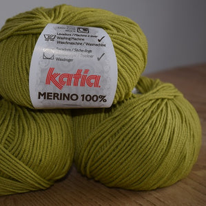 Katia merino 100% double knit yarn chartreuse green 29