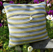 Load image into Gallery viewer, Knit One Kits Stripe crochet cushion cover kit