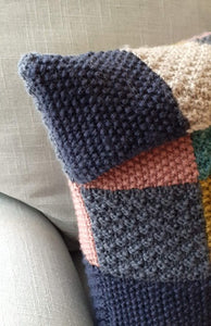 Knitted patchwork cushion cover kit