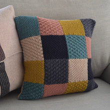 Load image into Gallery viewer, Knitted patchwork cushion cover using 6 colours