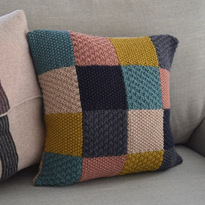 Knitted patchwork cushion cover using 6 colours