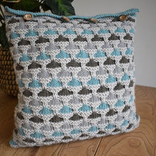 Load image into Gallery viewer, Knitted cushion cover duck egg colourway