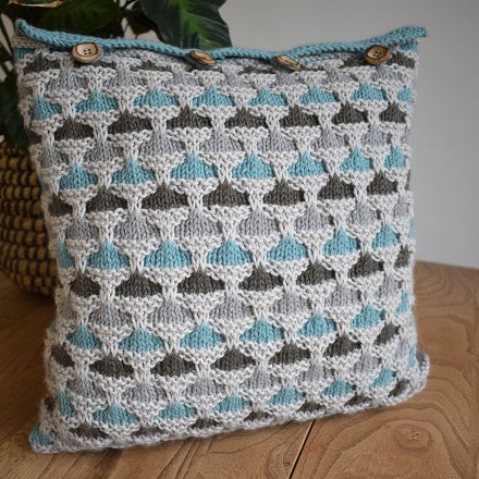 Knitted cushion cover duck egg colourway