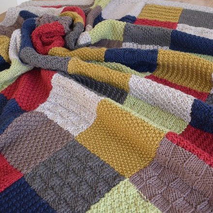 Patchwork blanket knitting pattern - pdf