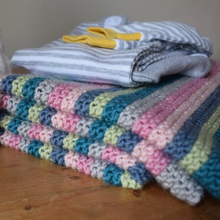 Striped baby blanket kit - knitting kit