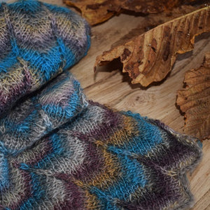 Multi coloured hand knitted merino scarf
