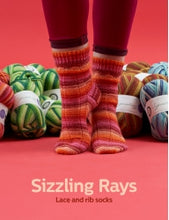 Load image into Gallery viewer, Winwick_mum_Seasons_sock_knitting_book_sizzling_rays