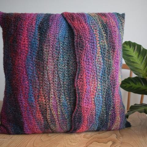 Wave stitch crochet cushion kit Jewel spun Sirdar 847