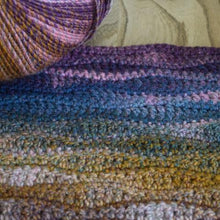 Load image into Gallery viewer, Wave stitch crochet cushion kit Jewel spun Sirdar 839