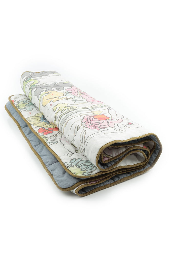 Padded Linen Blanket - Colorful Floral Print