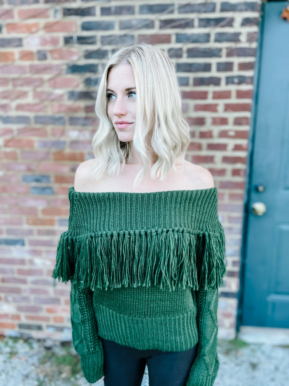 FUN AND FEARLESS OFF THE SHOULDER FRINGE SWEATER