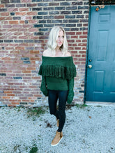 Load image into Gallery viewer, FUN AND FEARLESS OFF THE SHOULDER FRINGE SWEATER