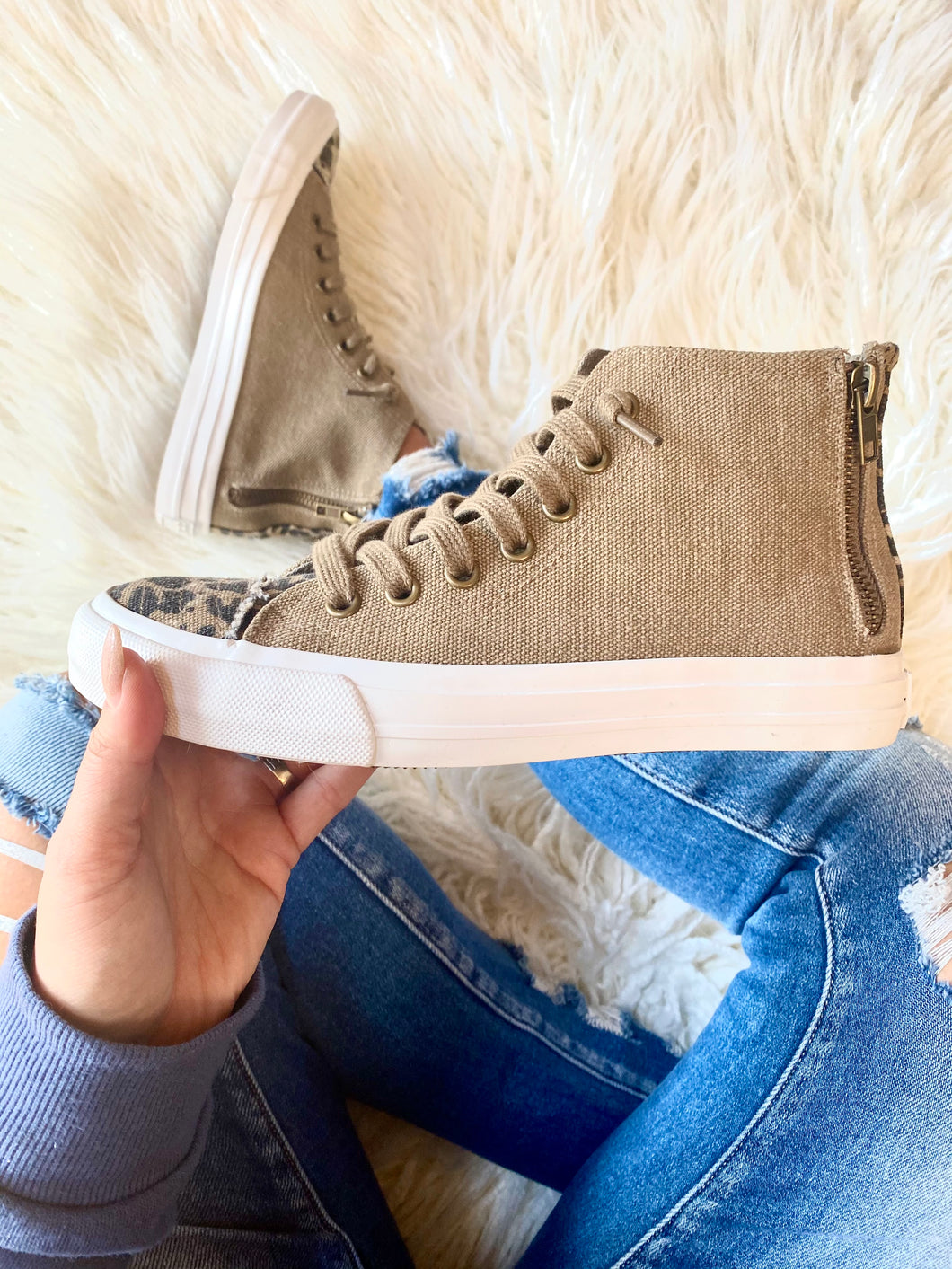 LOU LEOPARD HIGH TOP SNEAKERS