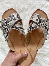 Load image into Gallery viewer, STEVIE SNAKE STUDDED SANDALS