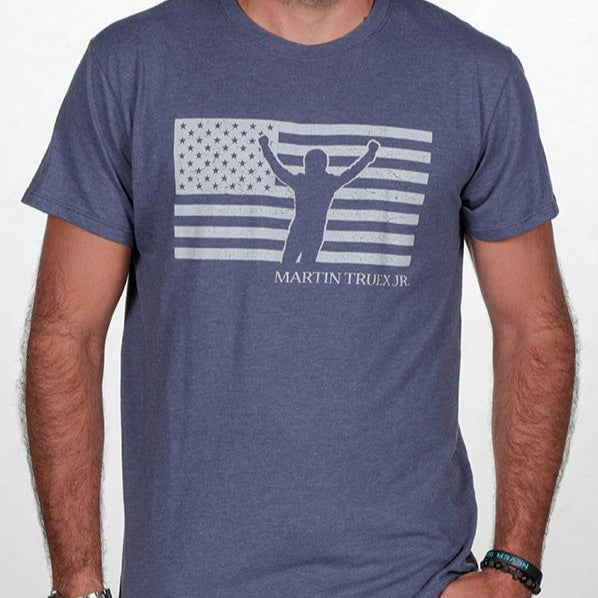 #19 Martin Truex Jr. Patriotic Men's Tee Denim Blue