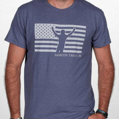 #19 Martin Truex Jr. Patriotic Men's Tee Denim Blue - Martin Truex Jr. Retail Store