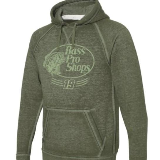 #19 Martin Truex Jr. Bass Pro Shops Olive Green Super Soft Hoodie