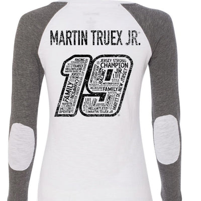 Martin Truex Jr. #19 Ladies Gray / White Long Sleeve Tee - martin-truex-jr-retail-store
