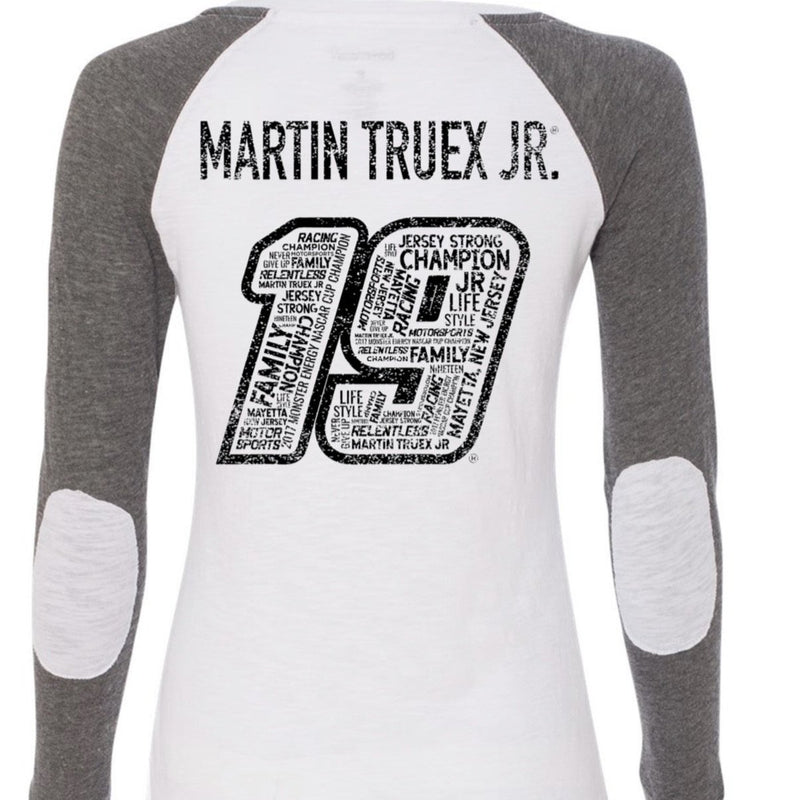 Martin Truex Jr. #19 Ladies Gray / White Long Sleeve Tee