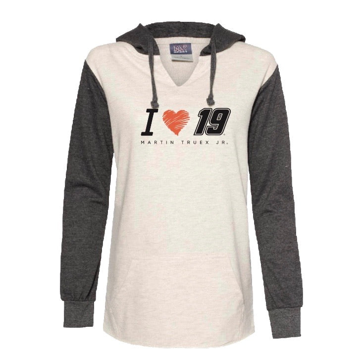 2020 #19 Martin Truex Jr. Heartstrings Ladies Lightweight Charcoal / Oatmeal Hoodie