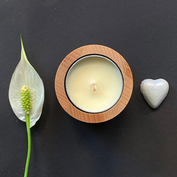 sympathy gift candle, peace lily plant and chocolate heart