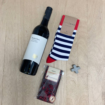 Local Mens Gift - ORTC Socks, Hentley Farm Shiraz & Red Cacao Chocolate Gift Basket - Sleek and Unique Gifts