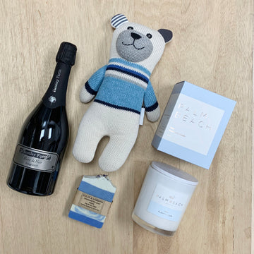 'Baby Blue' Celebration Gift Box with local sparkling and Palm Beach Candle- Gift Delivery Adelaide