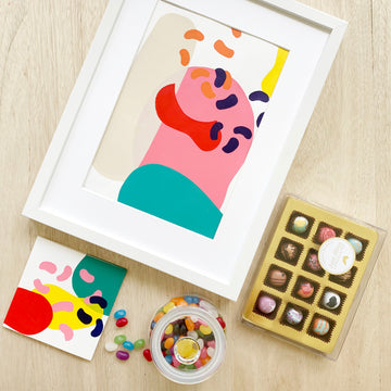 Adelaide Delivery - Bright Sweets & Art Gift Box - Sleek and Unique Gifts