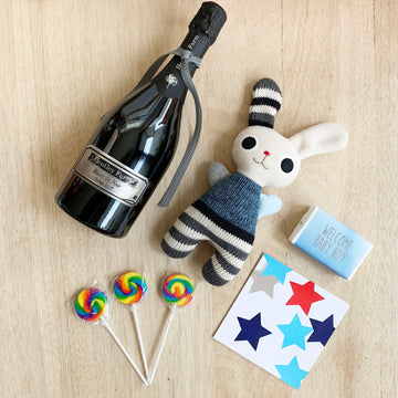 Baby Boy gift box with champagne and 'Henry' bunny teddy