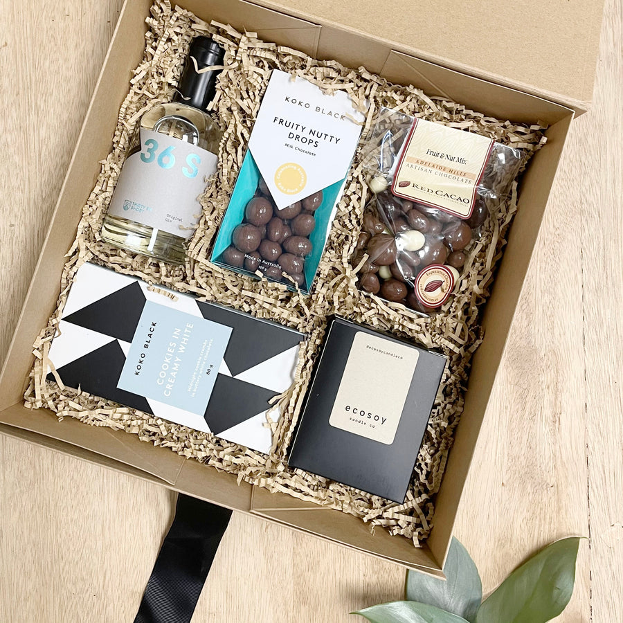36 Short Gin and Koko Black Chocolate All Occasion Gift Basket - Gift Basket Delivery Adelaide