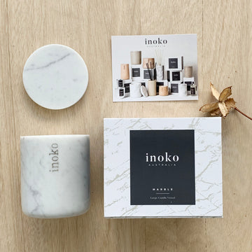Inoko Marble Candle - Refillable Vessel - Sleek and Unique Gifts