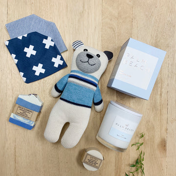 Baby Boy Gift Box with Teddy, Palm Beach Candle Gift Box - Adelaide Delivery
