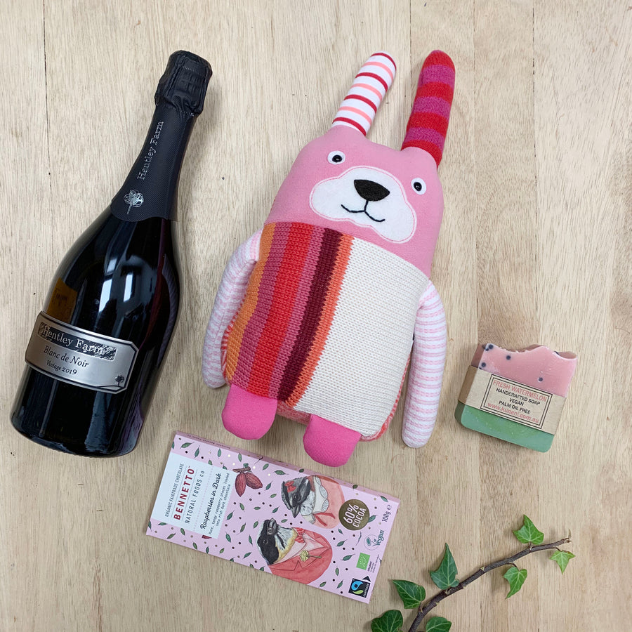 Roby The Teddy and Champagne Gift Box - Sleek and Unique Gifts