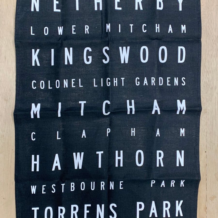 flat lay tea towel for 'Burnside Bundle' - Screen Printed Tea Towel
