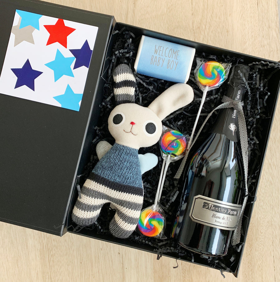 Gift Box for baby boy with champagne and teddy