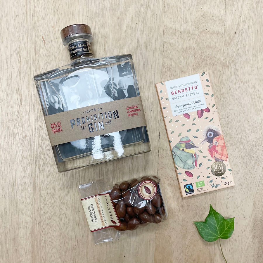 Prohibition Gin 700 ml, Chocolate Almonds and Bennetto Chocolate tile - Gin Gifts Aelaide