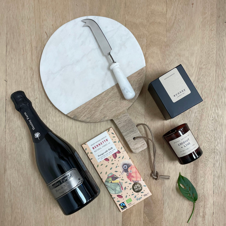Hentley Farm Champagne, marble platter and natural soy candle housewarming gift - Unique Gifts Adelaide Same Day Delivery