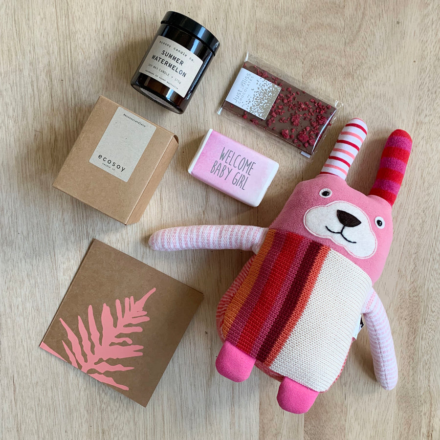 Pink Baby Girl Gift Box with 'Ruby' the knitted rabbit teddy - Australia Gift Delivery