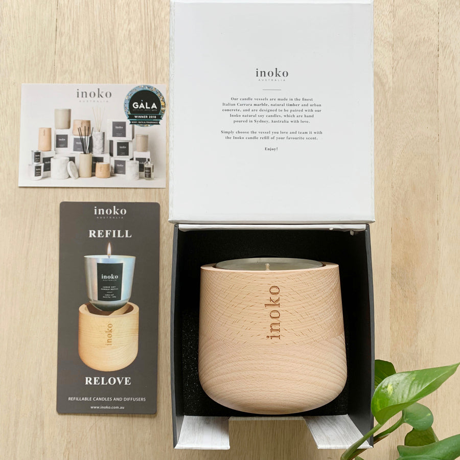 Stunning Inoko Wood Vessel Re-fillable Candle - Large - Sleek and Unique Gifts