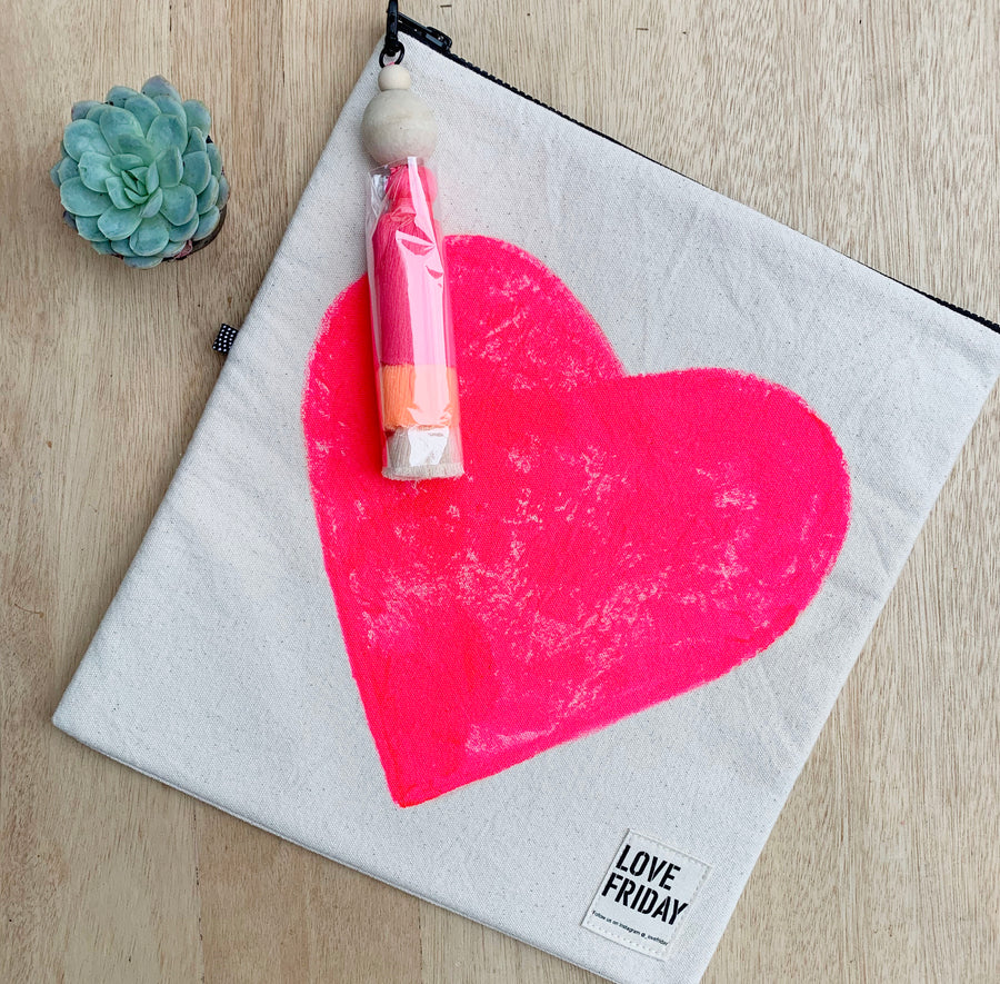 Love Friday Pink Heart hand painted bag - Sleek and Unique Gifts